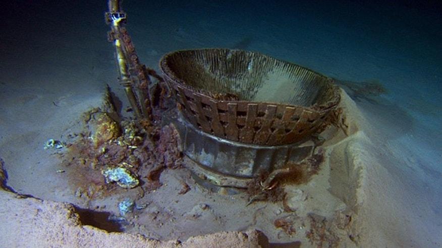 March 19, 2013: A thrust chamber of an Apollo F-1 engine on the bottom of the Atlantic Ocean, prior to recovery in an expedition led by Amazon CEO Jeff Bezos.