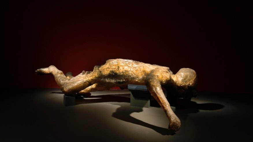March 26, 2013: A cast of a woman, one of more than 70 people who died in the basement of a villa in Oplontis, near Pompeii, is seen during a photo call for the upcoming exhibition entitled 'Life and death Pompeii and Herculaneum', at the British Museum in central London.