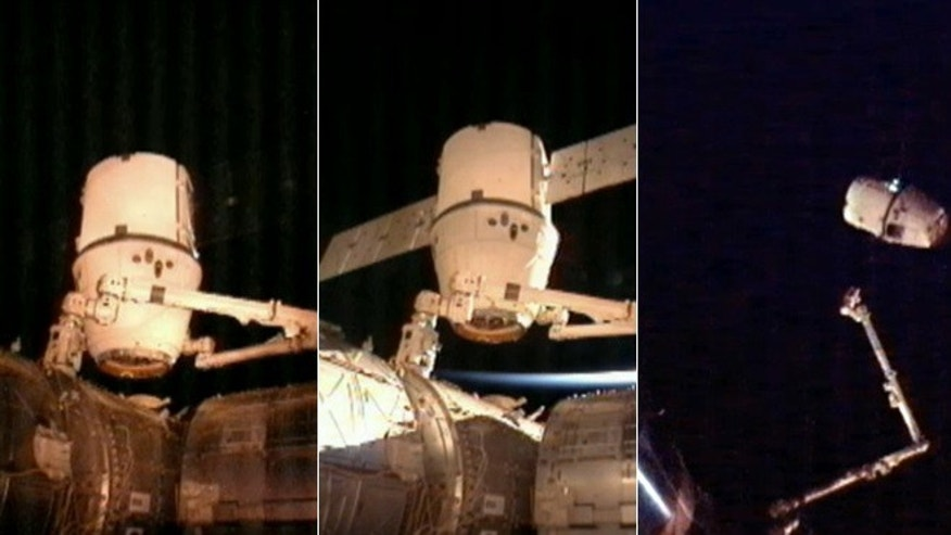 March 26, 2013: The SpaceX Dragon commercial cargo craft after it was detached from the International Space Station at 4:10 a.m. The Dragon is expected to splash down in the eastern Pacific ocean approximatel 246 miles off the coast of Baja Calif. later this morning.