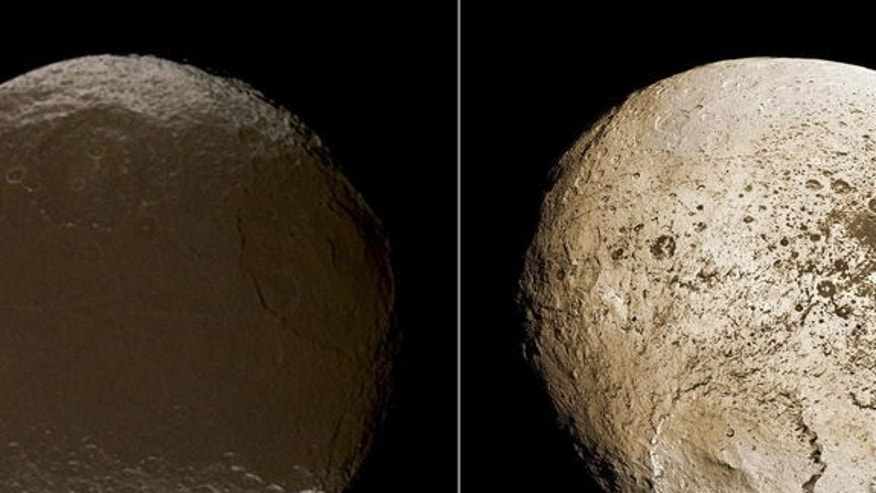 These two global images of Iapetus show the extreme brightness dichotomy on the surface of this peculiar Saturnian moon. The left-hand panel shows the moon's leading hemisphere and the right-hand panel shows the moon's trailing side. Image publ