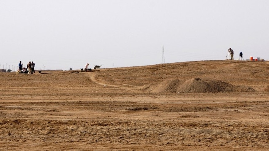 March 31, 2013: Excavation in progress at Tell Khaiber, Iraq, where a British archaeologist says he and his colleagues have unearthed a huge, rare complex near the ancient city of Ur that was the Biblical home of Abraham.