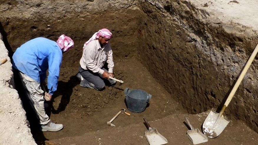 March 31, 2013: Excavation in progress at Tell Khaiber, Iraq, where a British archaeologist says he and his colleagues have unearthed a huge, rare complex near the ancient city of Ur in southern Iraq, home of the biblical Abraham.