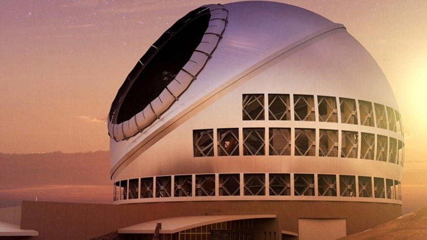 An artist's rendering of the Thirty Meter Telescope, which will become the world's biggest scope, at sunset.