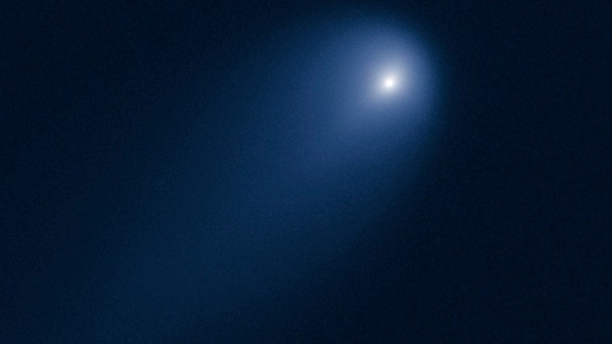 This image of Comet C/2012 S1 (ISON) was photographed on April 10, when the comet was slightly closer than Jupiter's orbit at a distance of 386 million miles from the Sun (394 million miles from Earth).