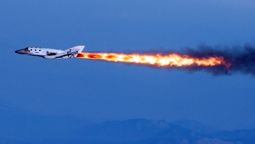 April 29, 2013: Virgin Galactic's SpaceShipTwo under rocket power, its first ever since the program began in 2005. The spacecraft was dropped from its mothership, WhiteKnightTwo, over Mojave, Calif.