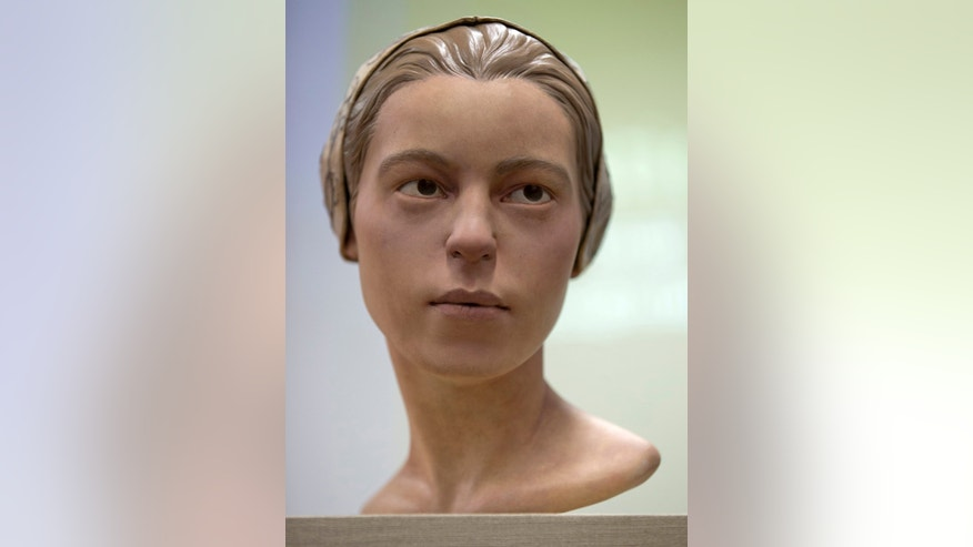 "May 1, 2013: A facial reconstruction of ""Jane of Jamestown"" is seen during a news conference at the Smithsonian's National Museum of Natural History in Washington."