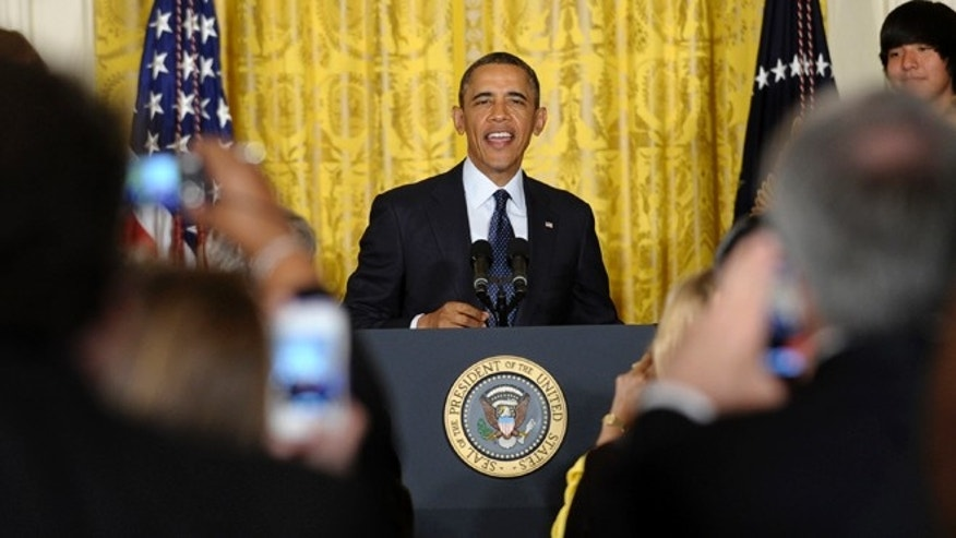 April 22, 2013: President Barack Obama speaks in the East Room of the White House in Washington, where he hosted the White House Science Fair to celebrate the student winners of a broad range of science, technology, engineering and math (STEM) competitions from across the country.
