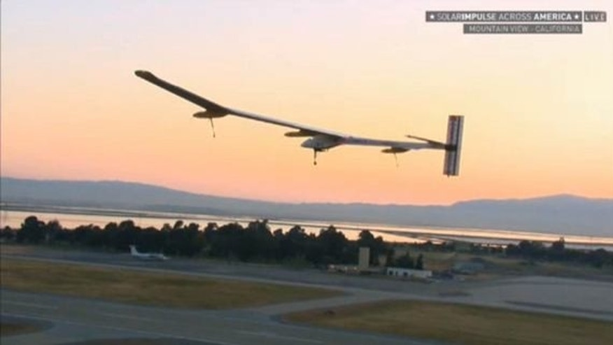 Solar Impulse flies over the runway at Moffett Airfield in California shortly after takeoff on May 3, 2013.