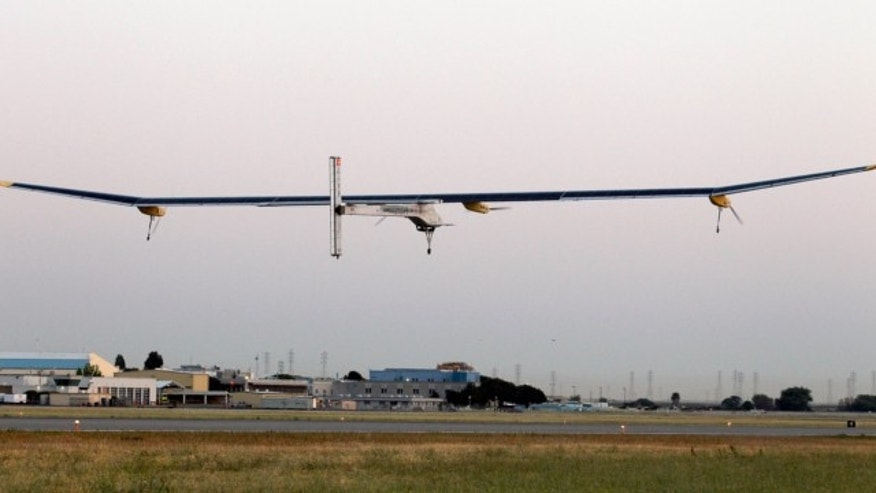 May 3, 2013: The Solar Impulse plane takes off on a multi-city trip across the United States from Moffett Field NASA Ames Research Center in Mountain View, Calif.