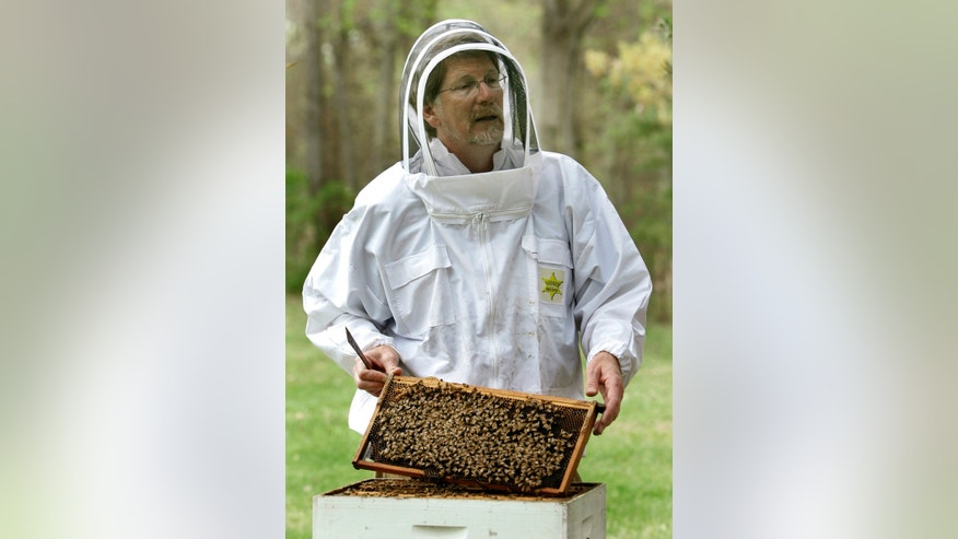Jeffery Pettis, a top bee scientist at the Agriculture Department's Bee Research Laboratory, talks about his work with honeybees, in Beltsville, Md in 2007.