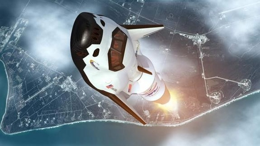 An artistic rendition of the Dream Chaser vehicle launching into space.