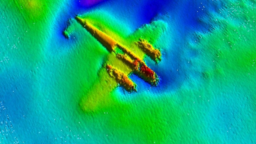 A sonar image reveals the body of the Dornier, half buried beneath the sands of the English Channel.
