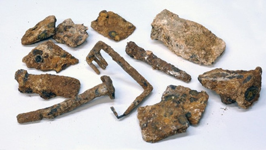 Various tools, including a 2,000-year-old key (center of image), were also discovered at the Second Temple quarry in Jerusalem.