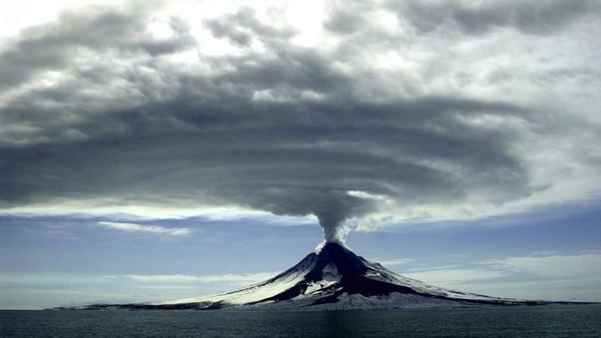A 2006 eruption of Mt. Augustine, photoraphed by the Alaska Volcano Observatory / U.S. Geological Survey.