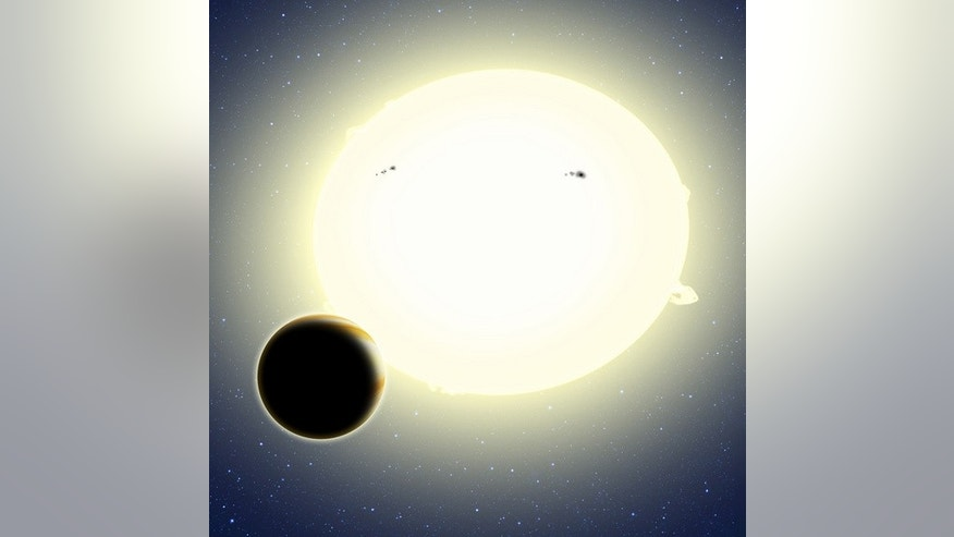 "This artist's concept shows the huge, scorching-hot ""Einstein's planet,"" formally known as Kepler-76b, orbiting its host star, which has been tidally distorted into a slight football shape (exaggerated here for effect). The planet was detected"