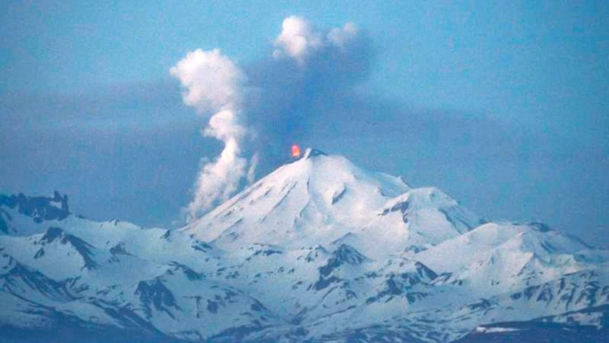 May 16, 2013: In this photo provided by the Alaskan Volcano Observatory, the Pavlof volcano erupts.