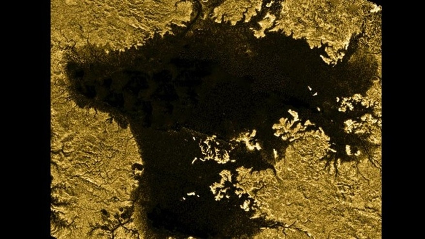 Ligeia Mare, shown here in data obtained by NASA's Cassini spacecraft, is the second largest known body of liquid on Saturn's moon Titan.