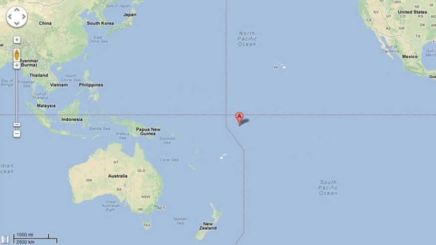 A red dot square in the middle of the Pacific Ocean locates the island of Nikumaroro, where Amelia Earhart's plane is believed to have crash landed.