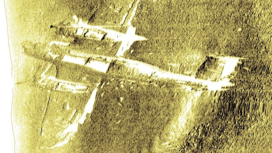 Side-scan sonar imaging provides a haunting look at the Nazi bomber, which the RAF museum plans to salvage in late May.