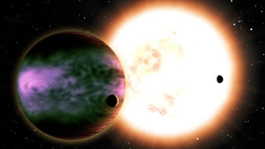 A large exoplanet gas giant experiences powerful aurorae caused by energetic particles streaming from its host star.