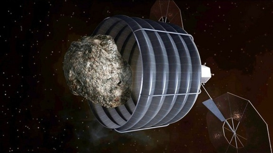 A notional concept of a solar-electric-powered spacecraft, designed to capture a small near-Earth asteroid and relocate it safely close to the Earth-moon system so astronauts can explore it.