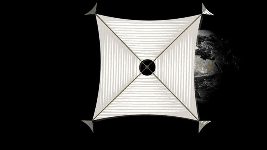 A giant solar sail is unfurled in this artist's conception of the Sunjammer, with planet Earth retreating in the background.