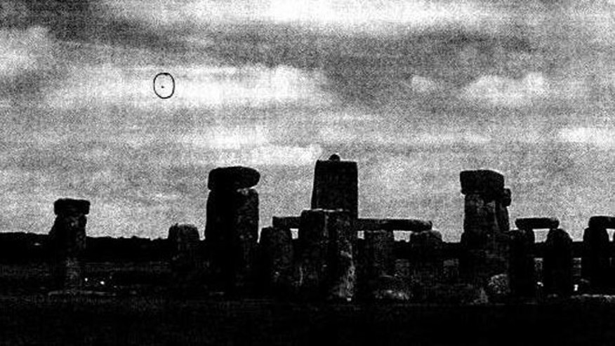 Photograph apparently showing a 'UFO' over Stonehenge, Wiltshire, in January 2009.