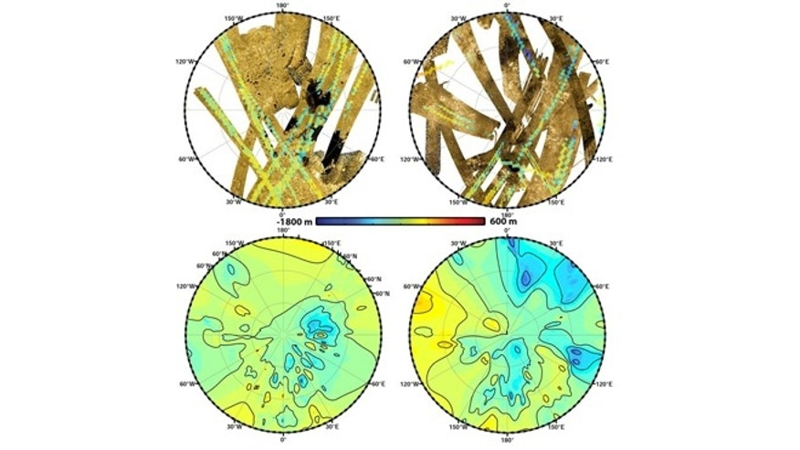 "These polar maps show the first global, topographic mapping of Saturn's moon Titan, using datafrom NASA's Cassini mission. To create these maps, scientists used a mathematical process called splining, which uses smooth curved surfaces to ""join"" the areas between grids of existing topography profiles obtained by Cassini's radar instrument."