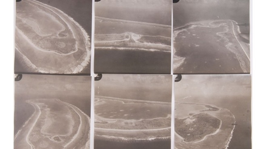 A contact sheet with aerial images of Nikumaroro, the island where Amelia Earhart and her navigator are believed to have survived for a time as castaways.