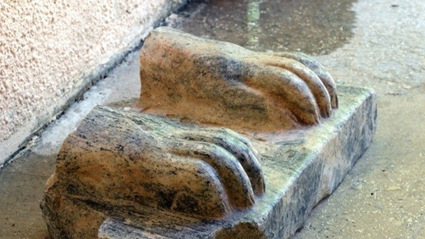 This sphinx fragment was found by archaeologists with the Hebrew University of Jerusalem during excavations at Hazor.