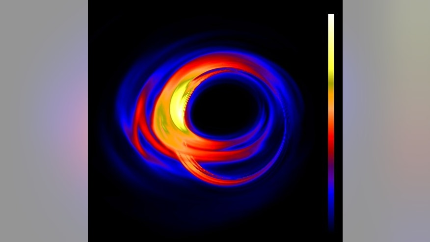 Theoretical calculations predict that the Milky Way's central black hole, called Sagittarius A*, will look like this when imaged by the Event Horizon Telescope. The false-color image shows light radiated by gas swirling around and into a black