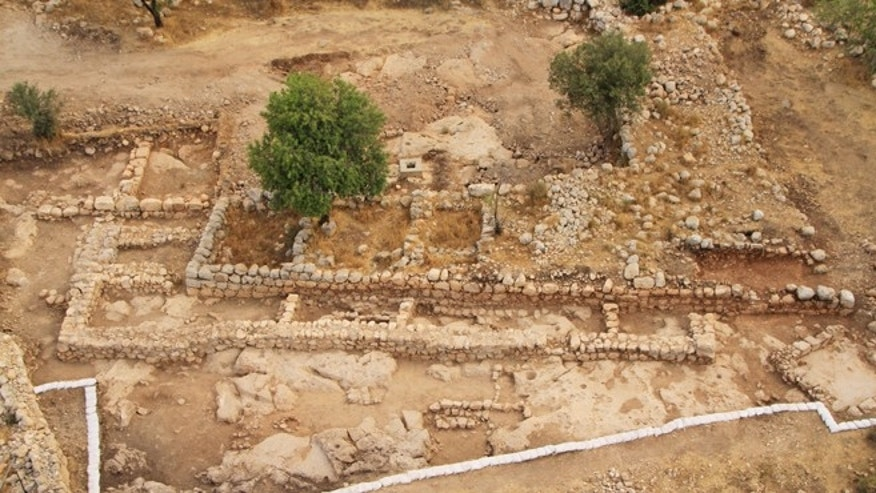 An aerial picture of what archaeologists say is King David's palace and the Byzantine farmhouse.