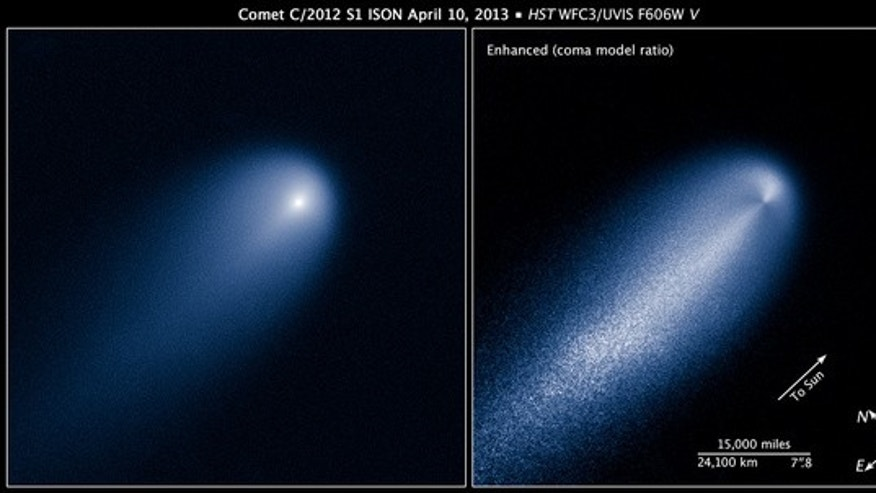 April 10, 2013: These images of Comet ISON were taken by NASA's Hubble Space Telescope, when the comet was 386 million miles from the sun. The image at right has been computer-processed to reveal the structure of ISON's inner coma.