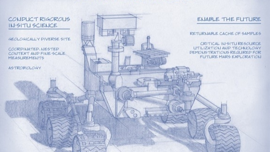 A sketch of the design for NASA's 2020 Mars rover. Planning for NASA's 2020 Mars rover envisions a basic structure that capitalizes on re-using the design and engineering work done for the NASA rover Curiosity, which landed on Mars in 2012, but