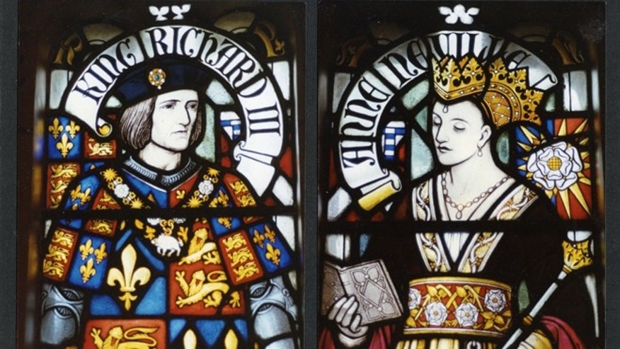 A stained glass window at Cardiff Castle depicts King Richard III and Queen Anne Neville.