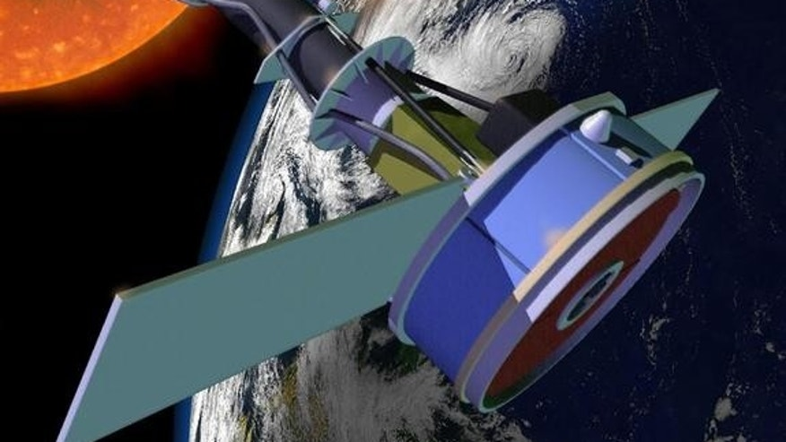 Artist's concept of the Interface Region Imaging Spectrograph (IRIS) satellite in orbit. The sun-observing telescope is launching in June 2013.
