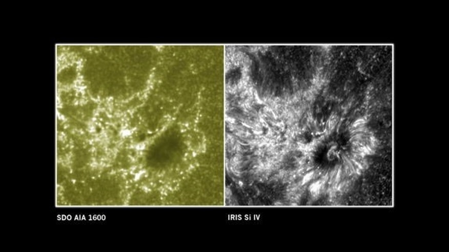This image compares observations from the Solar Dynamics Observatory (left) and the IRIS telescope (right).