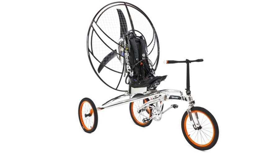 Named the XploreAir Paravelo, the contraption marries an ordinary two-wheeled bike with a trailer attachment containing a parachute and a turbofan.