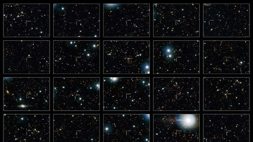 This image shows 20 quenched galaxies — galaxies that are no longer forming stars — seen by NASA's Hubble Space Telescope. Each galaxy is identified by a crosshair at the center of each frame.