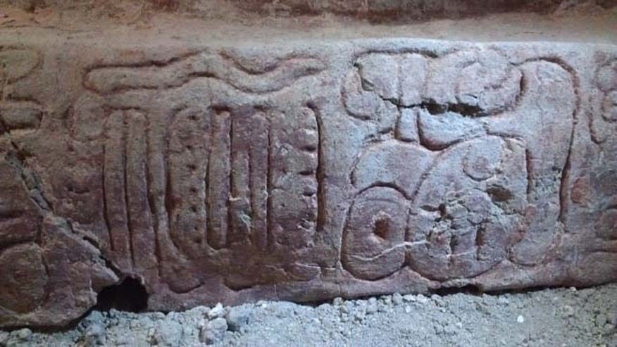 This June 2013 photo released by Proyecto Arqueologico Holmul shows a detail of a high-relief stucco sculpture recently discovered in the Mayan city of Holmul in the northern province of Peten, Guatemala. (AP Photo)