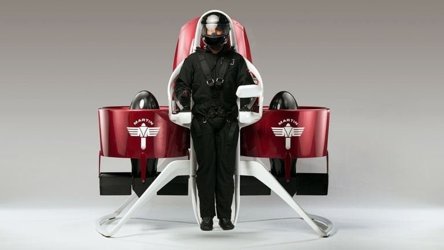 A personal jetpack developed by Martin Aircraft Company with a pilot strapped in place, pictured August 2013. The personal flying machines are to cost an estimated $150,000-$200,000 when they go on sale.