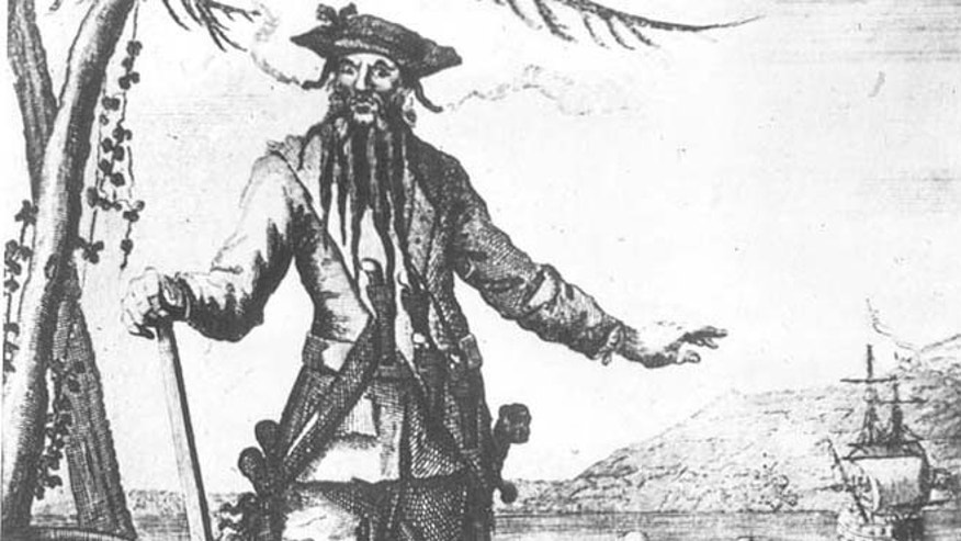 An image of Blackbeard first published in the 1700s.