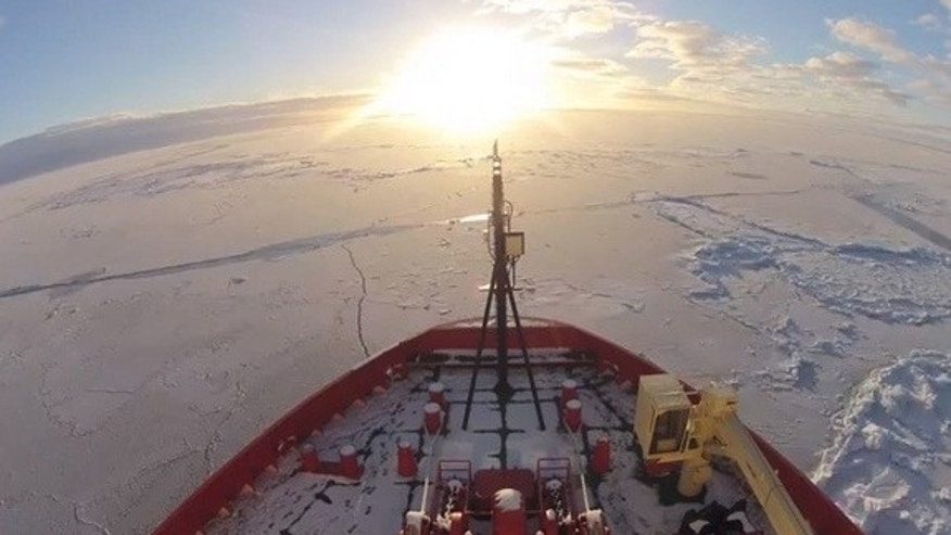 A still from a time-lapse video of two months aboard an Antarctic ice-breaker.