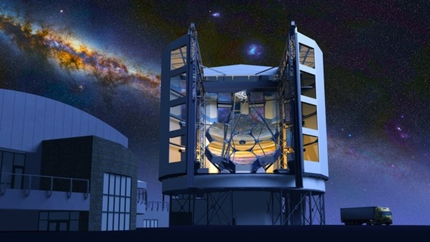 An artist's illustration of the completed Giant Magellan Telescope atop Las Campanas Peak in Chile's Atacama Desert. The 82-foot (24.5-meter) telescope will be one of the largest on Earth when it is completed in 2018.