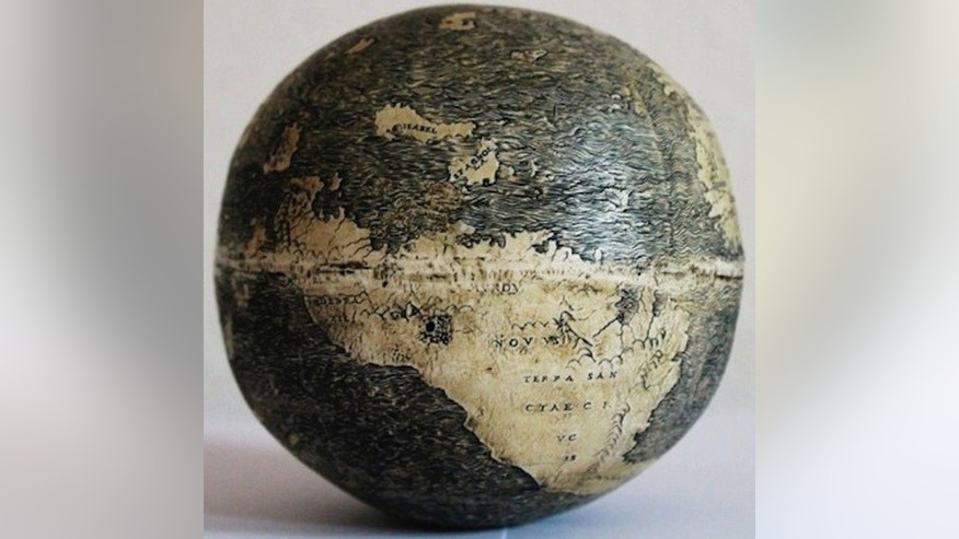 "The New World on the ostrich egg globe, which bears three names: ""TERRA DE BRAZIL,"" ""MVNDVS NOVVS, and ""TERRA SANCTAE CRVCIS."""