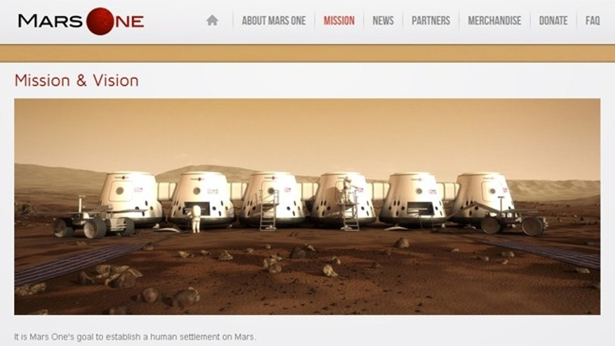 Rendered image of what the Mars One settlement will look like on the Mars One website.