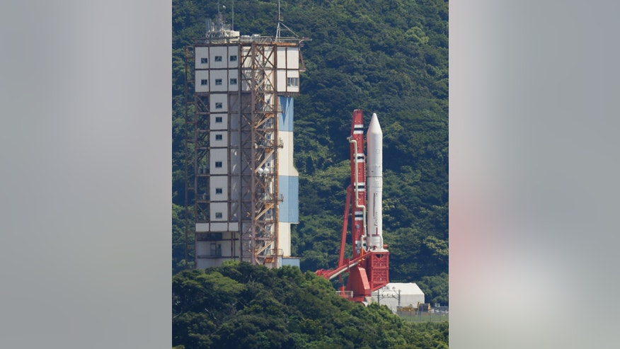 Aug. 27, 2013: An Epsilon rocket is transferred to prepare for its launch at the Uchinoura Space Center in Kimotsuki town, Kagoshima, western Japan.
