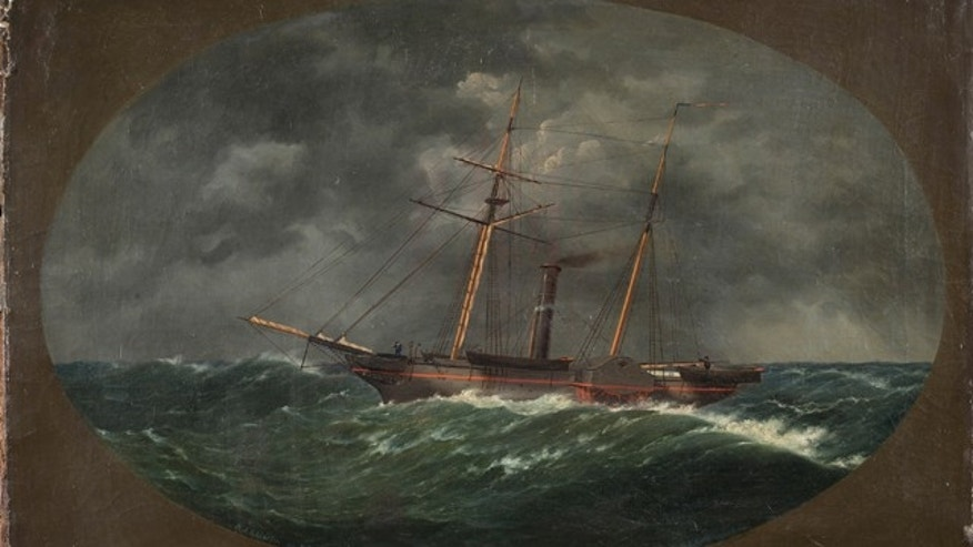 Aug. 26, 2013: This 1852 painting by W.A.K. Martin depicts the ship USCS Robert J. Walker which sank June 21, 1860, ten miles off the New Jersey coast.