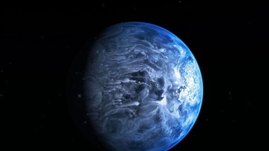 This illustration shows HD 189733b, a huge gas giant that orbits very close to its host star HD 189733. The planet's atmosphere is scorching with a temperature of over 1000 degrees Celsius, and it rains glass, sideways, in howling 7000 kilomete