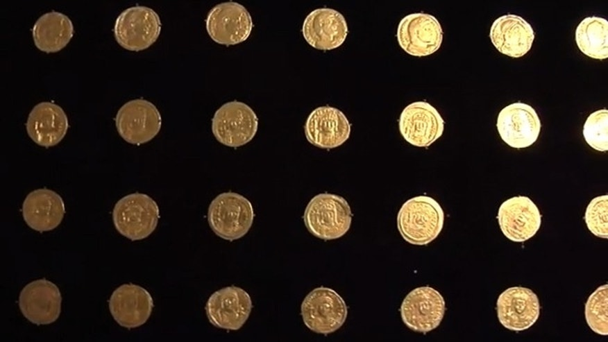 A few of the thirty-six gold coins found by Israeli Archaeologist, Eilat Mazar, near the Temple Mount in Jerusalem.
